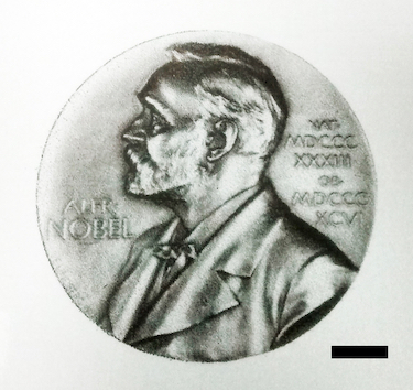 Nobel medal printed with water-based graphene ink on paper