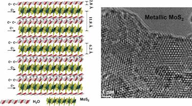 Multilayer M-MoS<sub>2</sub>-H<sub>2</sub>O-based symmetric supercapacitor electrode
