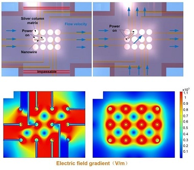 Image showing the working principle of the LDME-DEP chip, and simulated electric field strength with and without leads