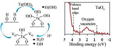 Stages of chemical reactions involved in the deposition of oxygen-deficient tantalum oxide films (left) and the results of their analysis by X-ray photoelectron spectroscopy (right).