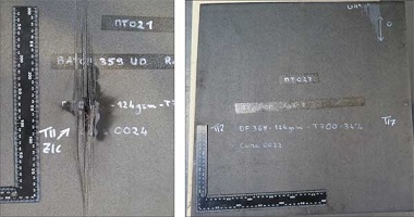 "The image at left shows the back face of a conventional, unprotected (that is, without copper mesh) composite panel after it was subjected to a severe lightning-strike event. ""Punch-through"" damage is clearly evident. The image at right shows a similar post-strike image, but in this case the panel had been modified with functionalized nanoparticles, and shows no visible back-face damage."