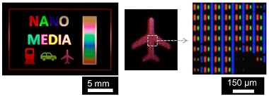 Schematic image showing the process of UV exposure and heat treatment. A photograph and an optical microscope image of the product are also shown.