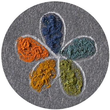 Rainbow-like flowers painted with supraball inks