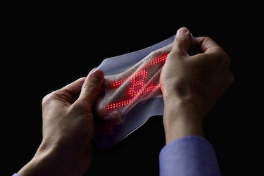 Ultrathin deformable skin display withstands stretching