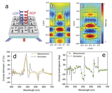Circularly polarised light diffracts through a gammadion array.