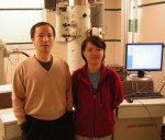 Jianyu Huang and Shuo Chen in front of a TEM.