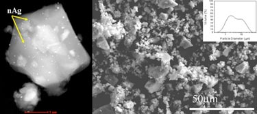 Glass particle containing silver monodispersed nanoparticles