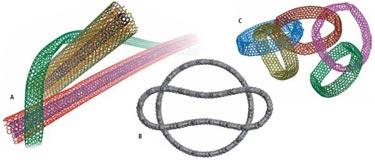 Model images of entangled nanotubes