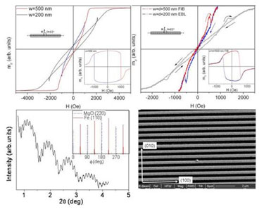 Nanowire array: calculated and measured hysteresis loops