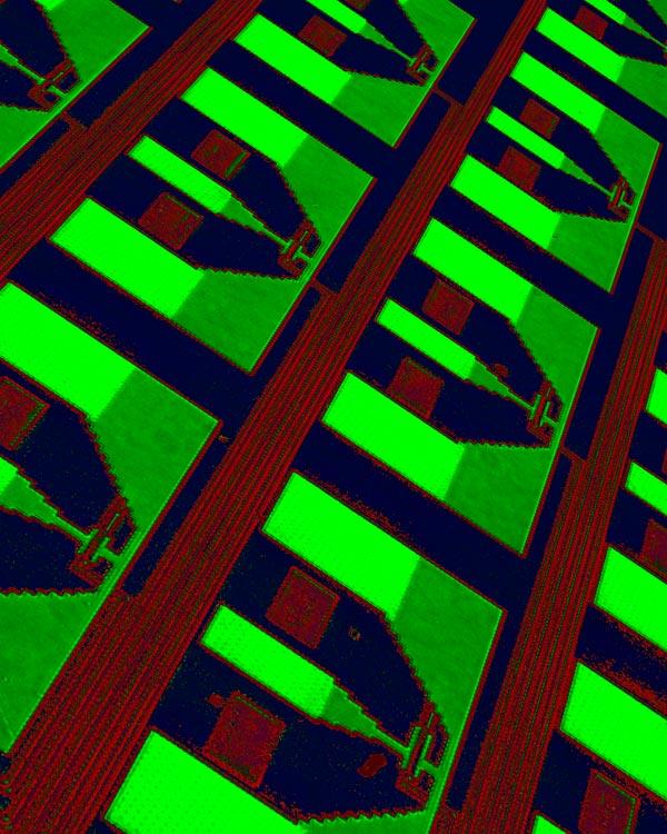 Фотография массива лавинных детекторов, разработанных IBM.  Снимок получен при помощи оптического микроскопа.