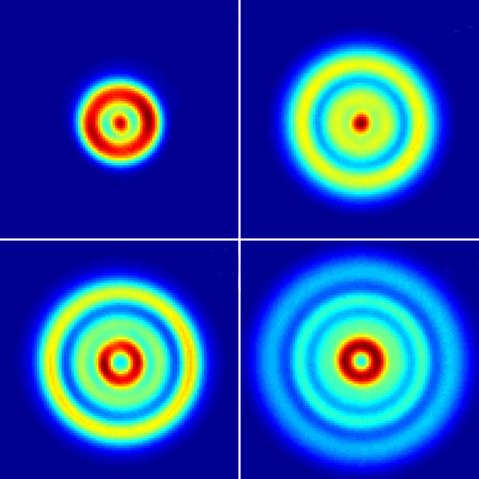 Sample images recorded for ionization of helium atoms. Interference patterns are measured that reveal the nodal structure of the electronic wavefunction that is excited, or that result from pathlength differences. In the former case, helium behaves like a hydrogen atom and electron correlation does not play a role, whereas in the latter case the ionization is strongly influenced by electron correlation. (Courtesy: A Stodolna <i>et al</i>., <i>Phys. Rev. Lett</i>.)