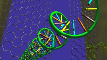 DNA moving through a graphene nanogap