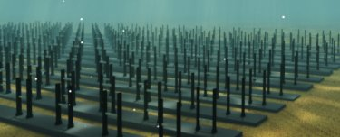 An array of VIVACE converters on the ocean floor