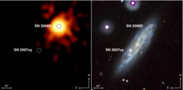 Type-Ib supernova in 'real time'