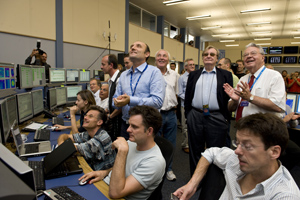 Smiles all around in the LHC control room