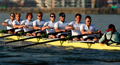 A Cambridge eight in action on the Thames