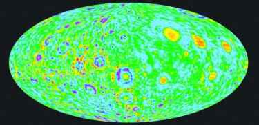 Gravity anomaly map of the Moon's surface