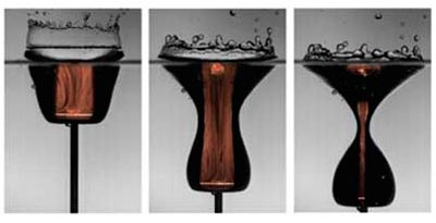 Hourglass shape: nozzle accelerates air to supersonic speeds