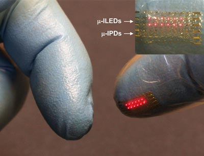 Photograph of LEDs at the tip of a glove