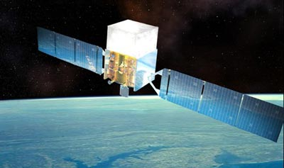 Artist impression of the Fermi Satellite in Earth orbit