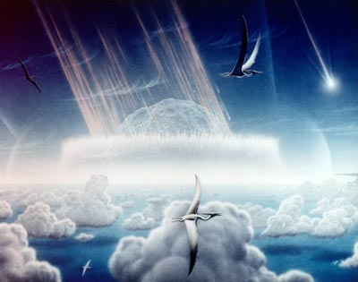 Painting depicting an asteroid impact on Earth