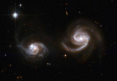 Hubble Space Telescope image of a pair of spiral galaxies