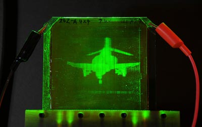A refreshable, holographic image of an F-4 Phantom Jet
