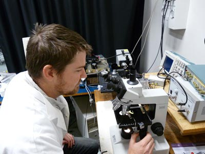 Photograph of Jason Milne in the lab