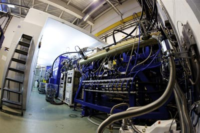 Photograph taken inside the ISOLDE experimental hall at CERN