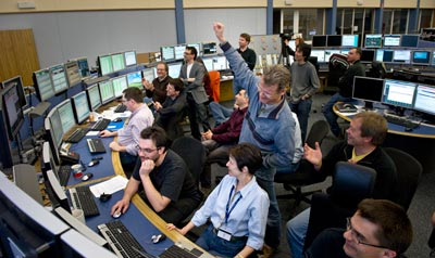 LHC workers celebrate two beams circulating at 3.5 TeV, last Friday