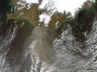Volcanic ash emerging from Eyjafjallajökull, Iceland