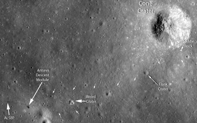 The Apollo 14 near miss of cone crater. (Courtesy: NASA/Goddard/Arizona State University)
