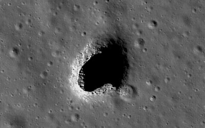 Lunar pits. (Courtesy: NASA/Goddard/Arizona State University)