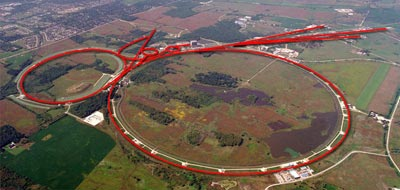 Aerial photograph of the Tevatron collider at Fermilab