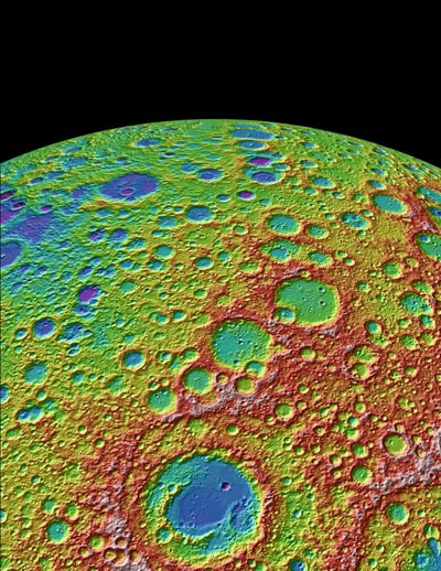 Image of craters on the Moon taken by LOLA