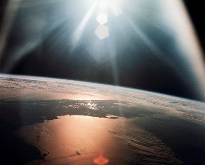 Photo of sunlight reflecting off the Gulf of Mexico and the Atlantic Ocean, taken from Apollo 7 mission