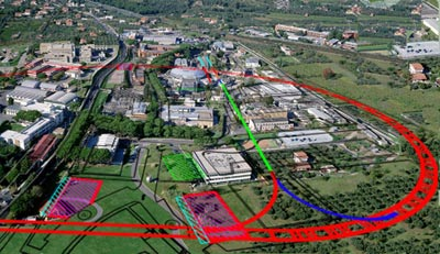 Composite image showing how the SuperB collider would be built at Frascati