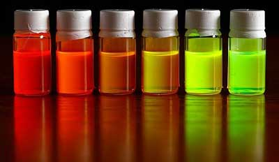 Photo of several different solutions of quantum dots
