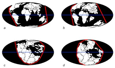 Diagram showing symmetry of continents about the equator at different points in Earth's history