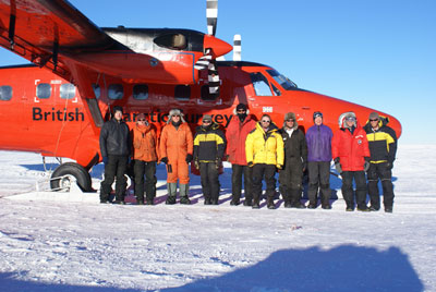 A photograph of some of the AGAP team and a Twin Otter