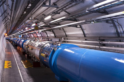 A photograph of the LHC beamline