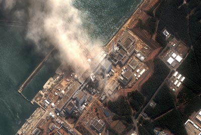 Satellite image of Fukushima Daiichi nuclear plant on 14 March 2011