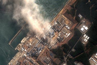 Satellite image of Fukushima Daiichi nuclear plant on 14 March 2011