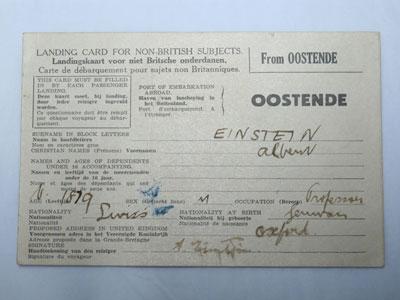 Einstein's landing card