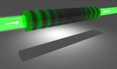 Graphic of a time-reversed laser made from silicon