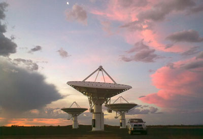 Photo of the KAT-7 telescopes in South Africa