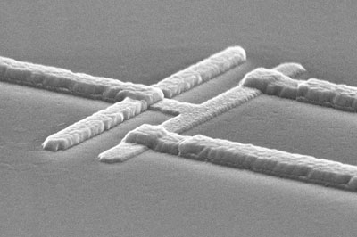 Electron micrograph of a superconducting qubit
