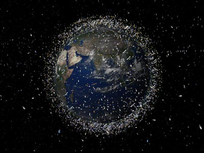 Artist's impression of the man-made debris in low-Earth orbit