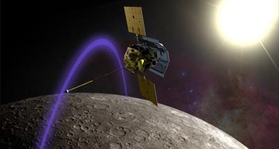 Artist's impression of the MESSENGER craft entering Mercury's orbit
