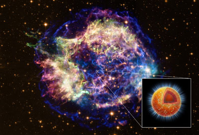 Composite image of Cassiopeia A showing its neutron star
